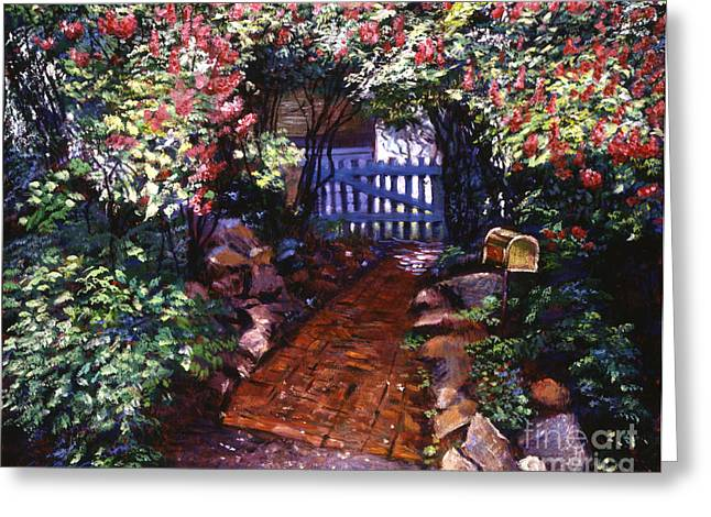 Picket Fence Greeting Cards - The Blue Garden Gate Greeting Card by David Lloyd Glover