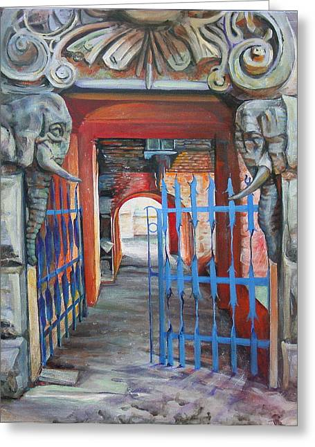 House With Gate Greeting Cards - The Blue Gate Greeting Card by Marina Gnetetsky
