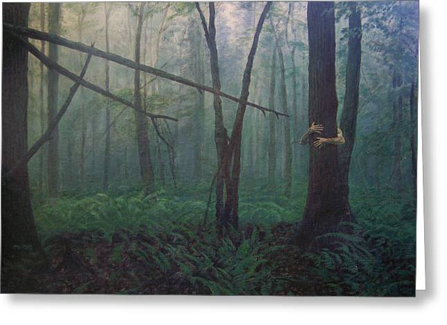Tree Huggers Greeting Cards - The Blue-green Forest Greeting Card by Derek Van Derven
