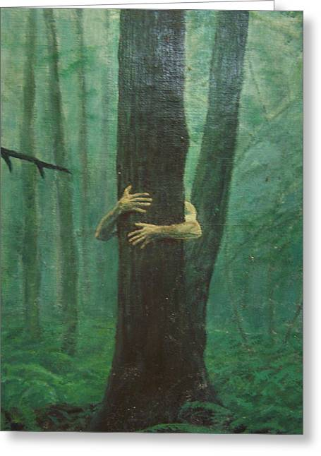 Tree Huggers Greeting Cards - The Blue-green Forest detail Greeting Card by Derek Van Derven