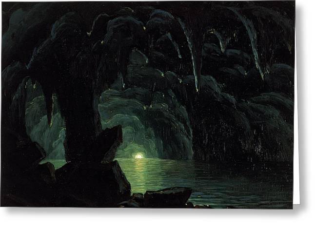 Dark Blue Green Greeting Cards - The Blue Grotto Greeting Card by Albert Bierstadt