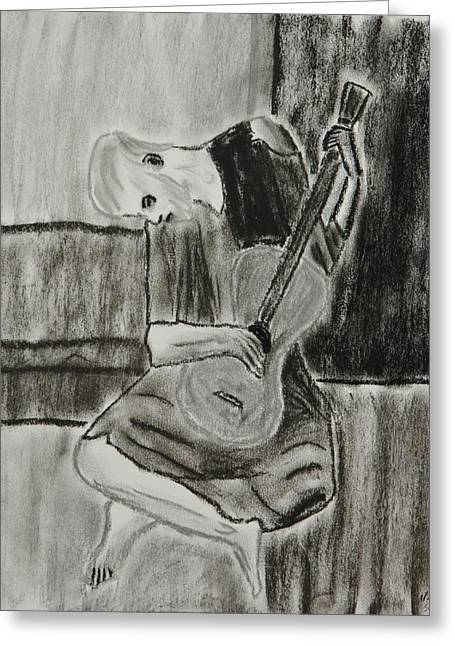 Original work Pastels Greeting Cards - The Blue Guitarist Greeting Card by Sean Mitchell