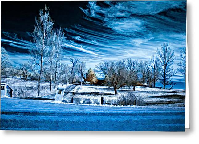 Back Roads Digital Art Greeting Cards - The Blue Hour Greeting Card by Steve Harrington