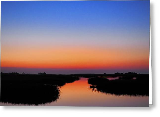 Tidal Photographs Greeting Cards - BLUE HOUR SUNRISE SUNSET IMAGE ART by Jo Ann Tomaselli Greeting Card by Jo Ann Tomaselli