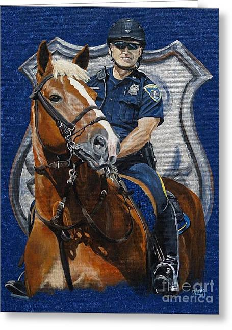 Police Officer Greeting Cards - the Blue Knight Greeting Card by Pat DeLong