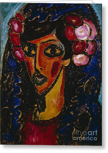 Strength Paintings Greeting Cards - The Blue Mantilla  Greeting Card by Celestial Images