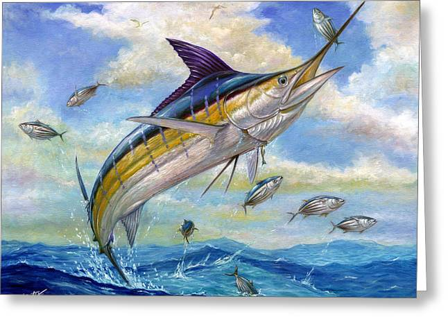 Marlin Greeting Cards - The Blue Marlin Leaping To Eat Greeting Card by Terry  Fox