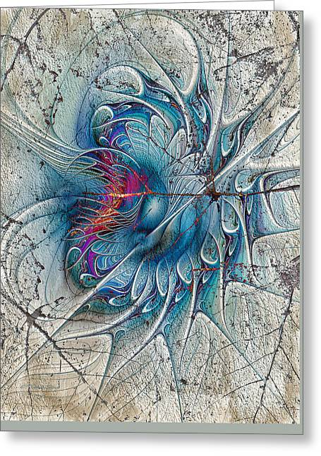 Abstract Digital Greeting Cards - The Blue Mirage Greeting Card by Deborah Benoit