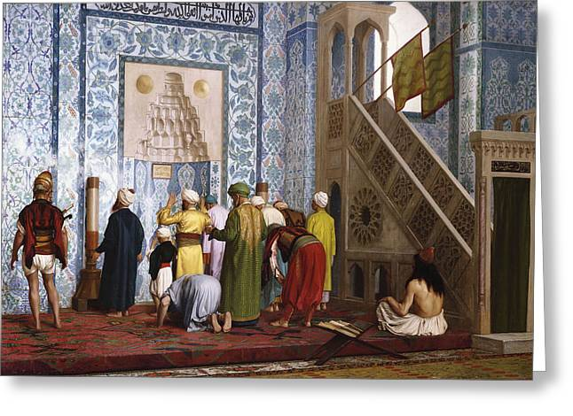 Jean Leon Gerome Greeting Cards - The Blue Mosque Greeting Card by Jean Leon Gerome