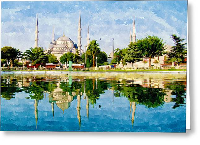 Cupola Paintings Greeting Cards - The Blue Mosque Greeting Card by Lanjee Chee