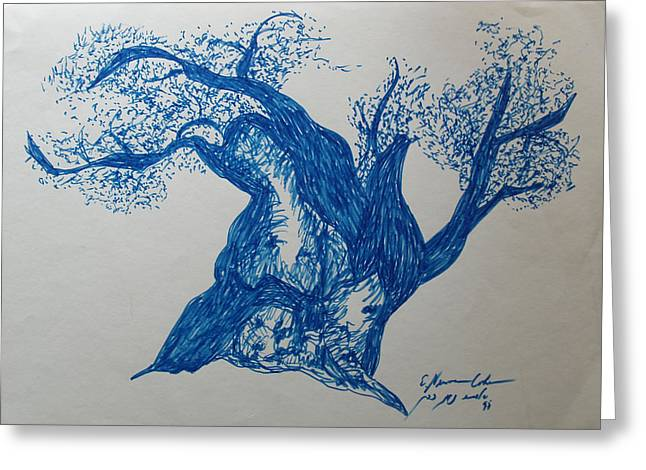 Olive Drawings Greeting Cards - The Blue Olive Tree Greeting Card by Esther Newman-Cohen