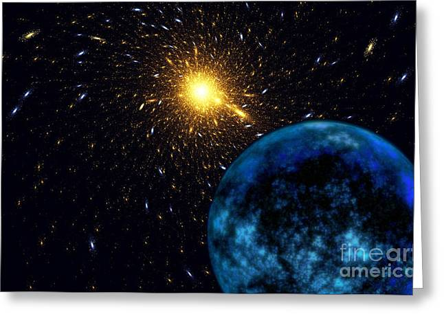 Macrocosm Greeting Cards - The Blue Planet Greeting Card by Klara Acel