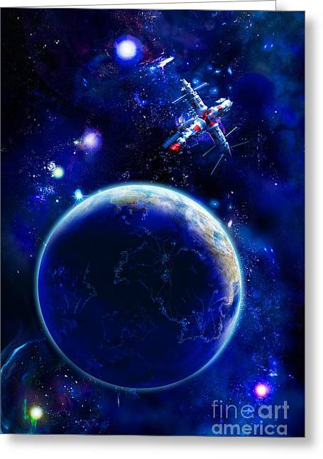 Planet Pyrography Greeting Cards - The Blue Planet Seas Of Life Greeting Card by Boon Mee