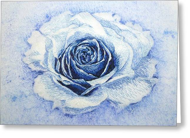 Roses Tapestries - Textiles Greeting Cards - The Electric Rose Greeting Card by Jennifer Kohr