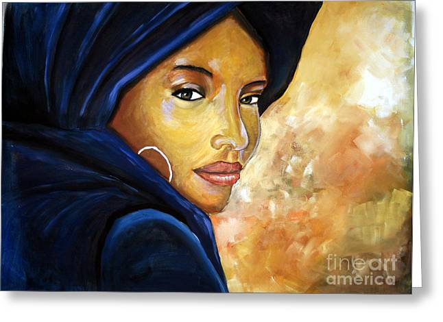 Northern Africa Paintings Greeting Cards - The blue scarf Greeting Card by Daniela Abrams