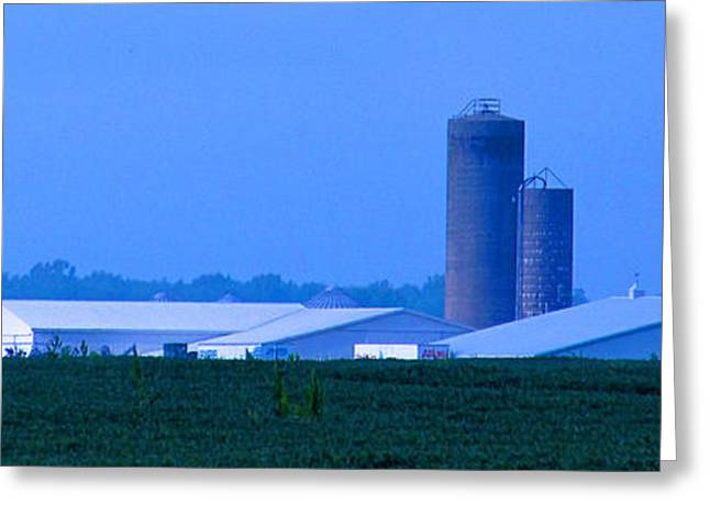 Pond In Park Greeting Cards - The blue Silo Horizon Greeting Card by Tina M Wenger