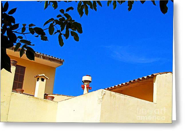 Ladnscape Greeting Cards - The Blue Sky and Adobe Roof Greeting Card by Tina M Wenger