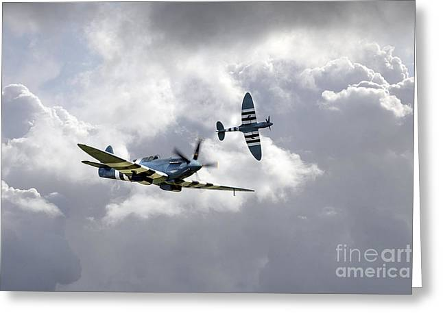 Recon Greeting Cards - The Blue Spitfires  Greeting Card by J Biggadike