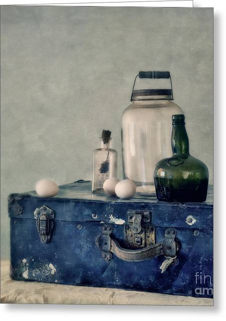 The Blue Suitcase Greeting Card by Priska Wettstein
