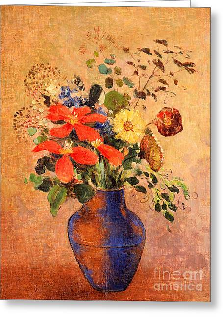 In Bloom Greeting Cards - The Blue Vase Greeting Card by Odilon Redon
