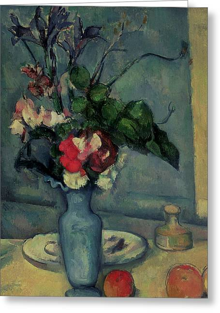 Bleu Greeting Cards - The Blue Vase Greeting Card by Paul Cezanne