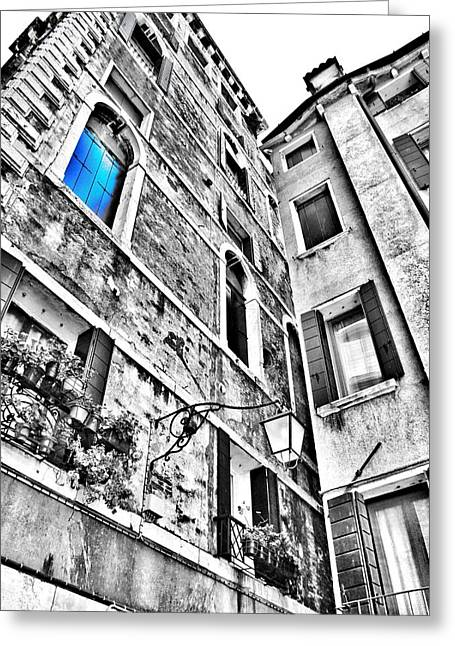 Architecture Textured Art Greeting Cards - The Blue Window in Venice - Italy Greeting Card by Marianna Mills