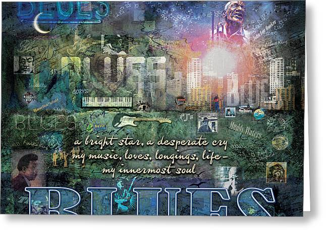 Skyline Greeting Cards - The Blues Greeting Card by Evie Cook