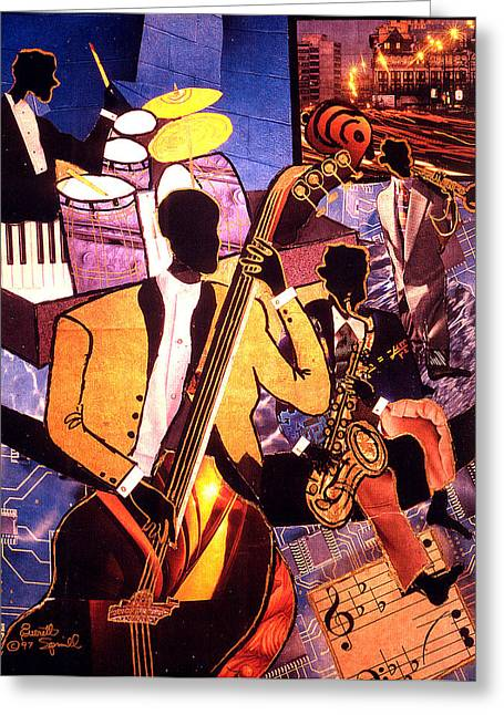Pablo Mixed Media Greeting Cards - The Blues People - 1997 Greeting Card by Everett Spruill