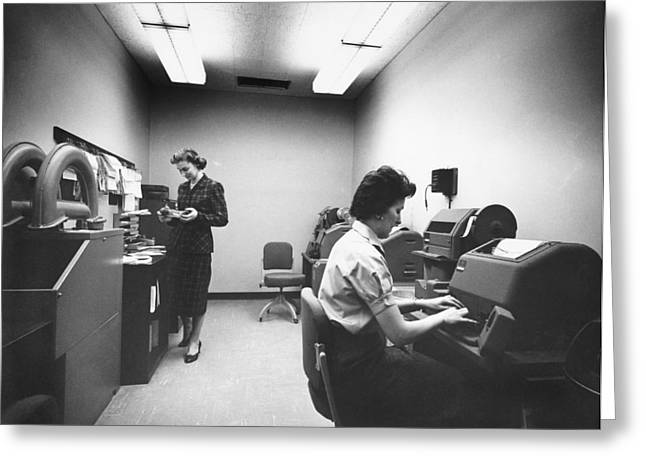 British Overseas Airways Corporation Greeting Cards - The BOAC Teletype Room At JFK Greeting Card by Underwood Archives