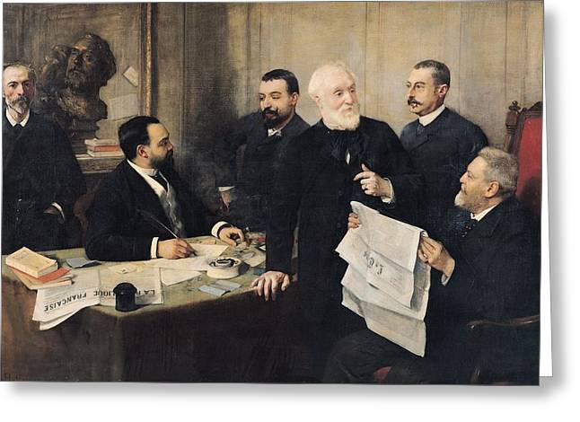 Editor Photographs Greeting Cards - The Board Of Directors Of La Republique Francaise, 1890 Oil On Canvas Greeting Card by Henri Gervex