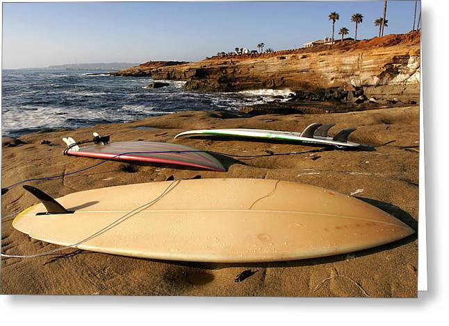 Surfer Greeting Cards - The Boards Greeting Card by Peter Tellone