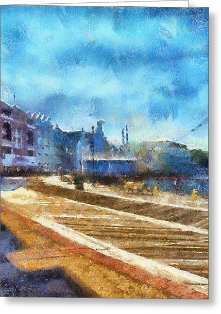 Hospital Theme Greeting Cards - The Boardwalk Sidewalk Walt Disney World Photo Art Greeting Card by Thomas Woolworth