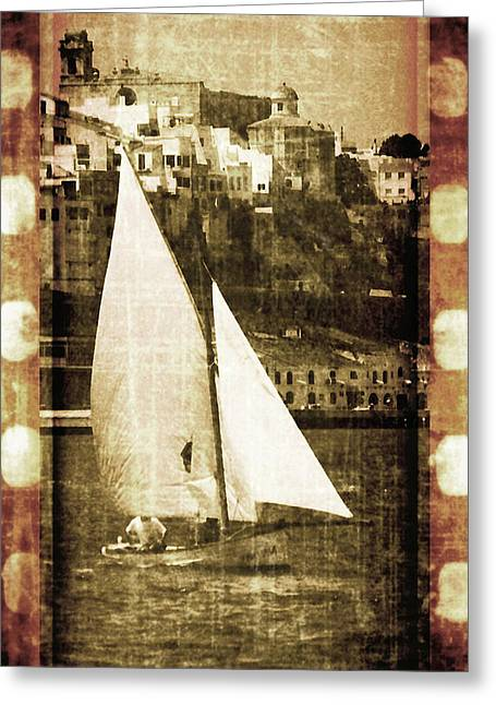 Gold Lime Green Greeting Cards - Port Mahon and traditional boat called llaut in a vintage process - The boat and the city Greeting Card by Pedro Cardona