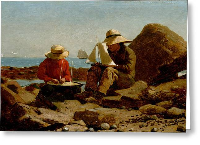 Landscape Painter Greeting Cards - The Boat Builders Greeting Card by Winslow Homer