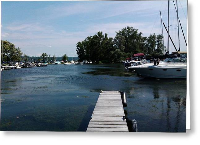 Dock Pastels Greeting Cards - The Boat Dock  Greeting Card by Jo-Ann Hayden