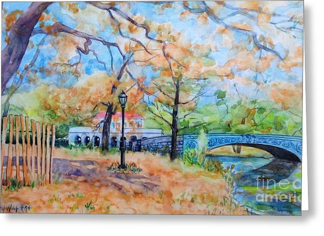 Park Scene Paintings Greeting Cards - The Boat House and Lullwater Bridge Greeting Card by Nancy Wait