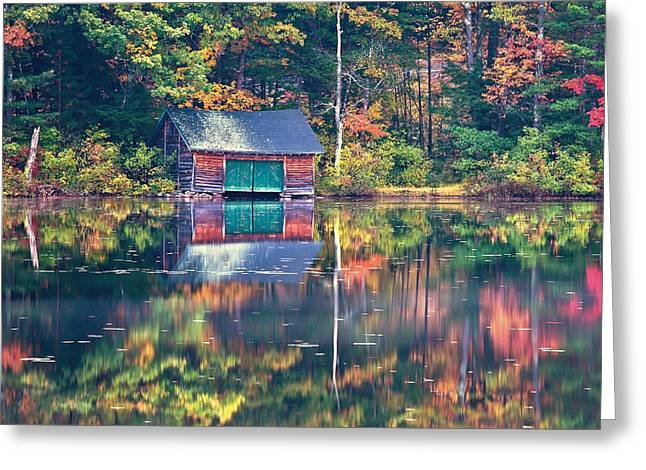 Fall Scenes Greeting Cards - The Boat House Greeting Card by Jeff Sinon