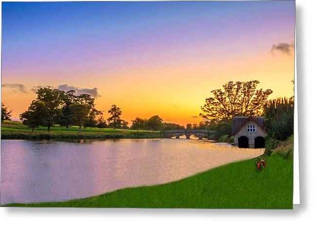 Sunset Prints Of Ireland Greeting Cards - The Boat House Greeting Card by John Hurley