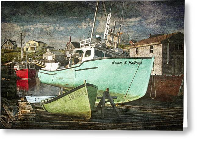 Randy Greeting Cards - The Boat Humps and Hollows in Peggys Cove Harbour Version 2 with Overlay Greeting Card by Randall Nyhof