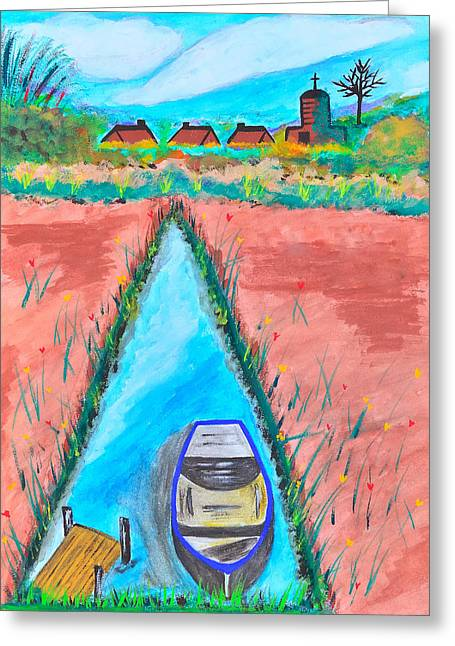 French Open Paintings Greeting Cards - The Boat in the River with Rural Life. Greeting Card by Kanthima Chinanurak
