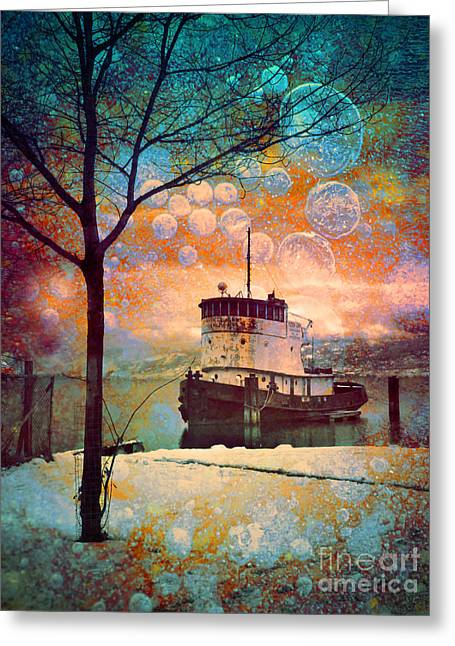 Fantasty Greeting Cards - The Boat in Winter Greeting Card by Tara Turner