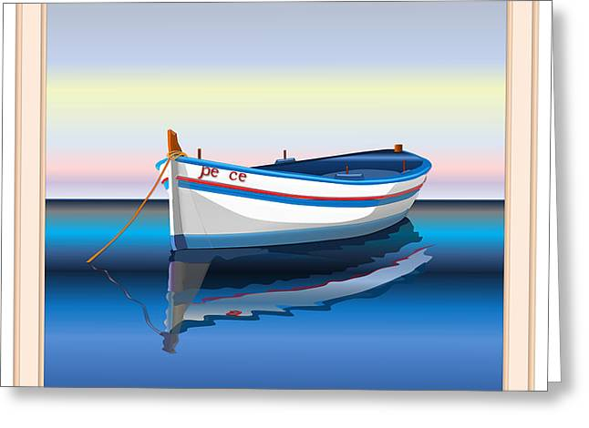 Anti Greeting Cards - The Boat Named Peace. Greeting Card by Ethos Lambousa