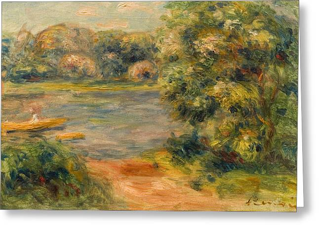 The Boat On The Lake Greeting Card by Pierre Auguste Renoir