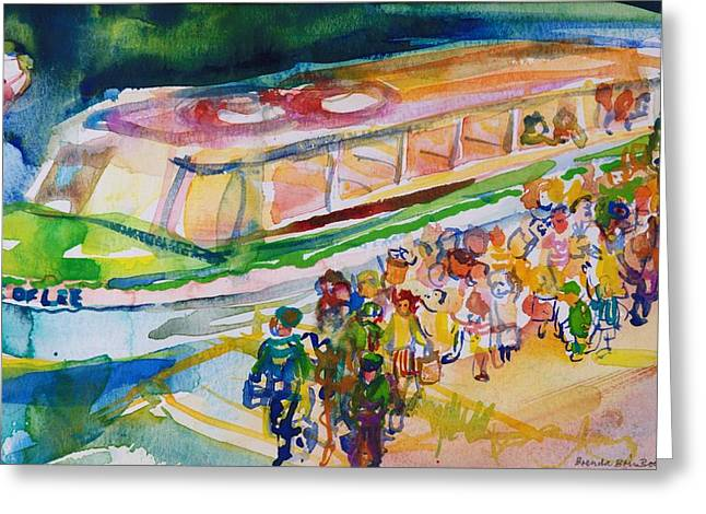 City Canal Greeting Cards - The Boat Trip, 1989 Wc On Paper Greeting Card by Brenda Brin Booker