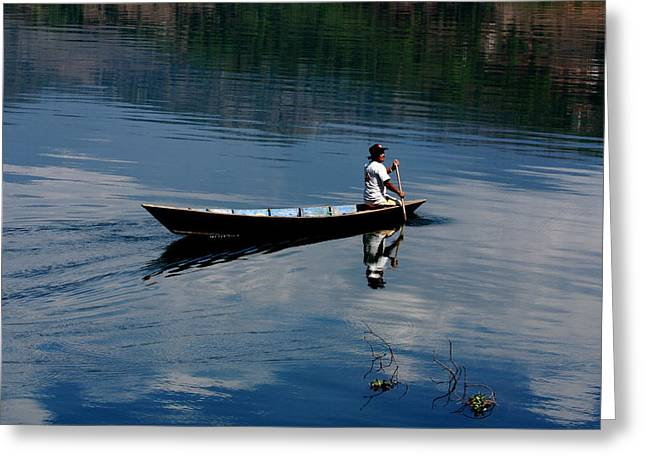 Boatman Greeting Cards - The Boatman - Nepal Greeting Card by Aidan Moran