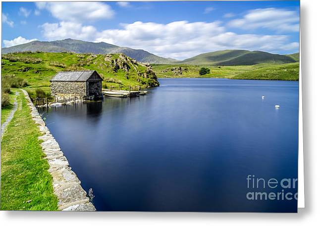 Sony Greeting Cards - The Boathouse Greeting Card by Adrian Evans