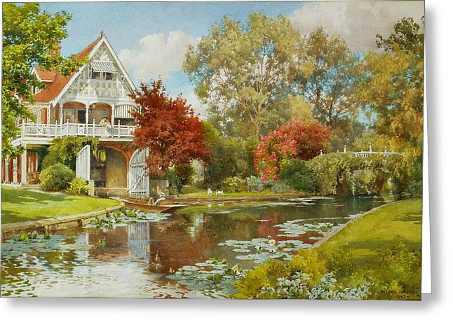 Punting Greeting Cards - The Boathouse Greeting Card by Alfred Parsons