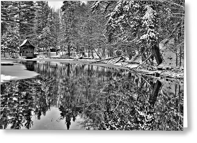 Lack And White Greeting Cards - The Boathouse in Old Forge Greeting Card by David Patterson