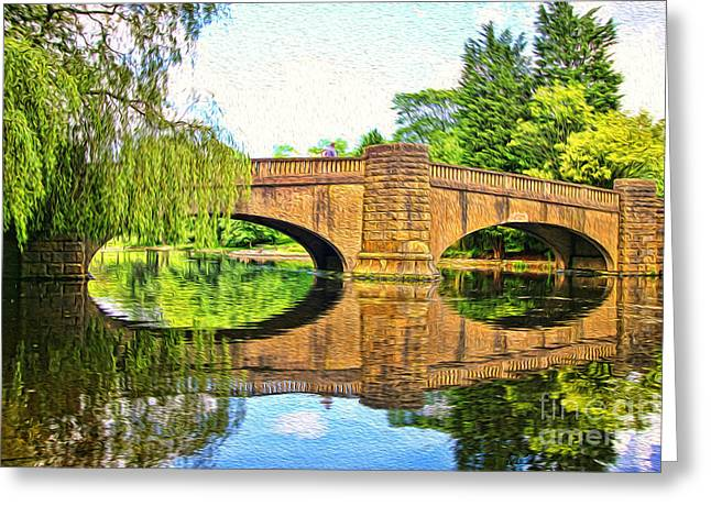 Willow Lake Mixed Media Greeting Cards - The Boating Lake at Thompson Park Burnley Greeting Card by Peter McHallam