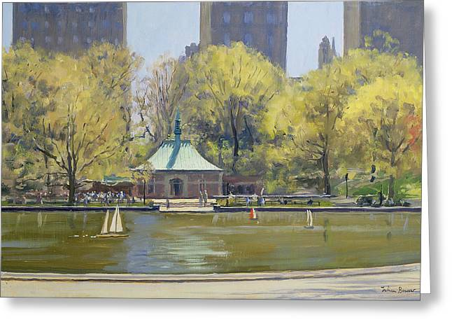 Pavilion Greeting Cards - The Boating Lake, Central Park, New York, 1997 Oil On Canvas Greeting Card by Julian Barrow